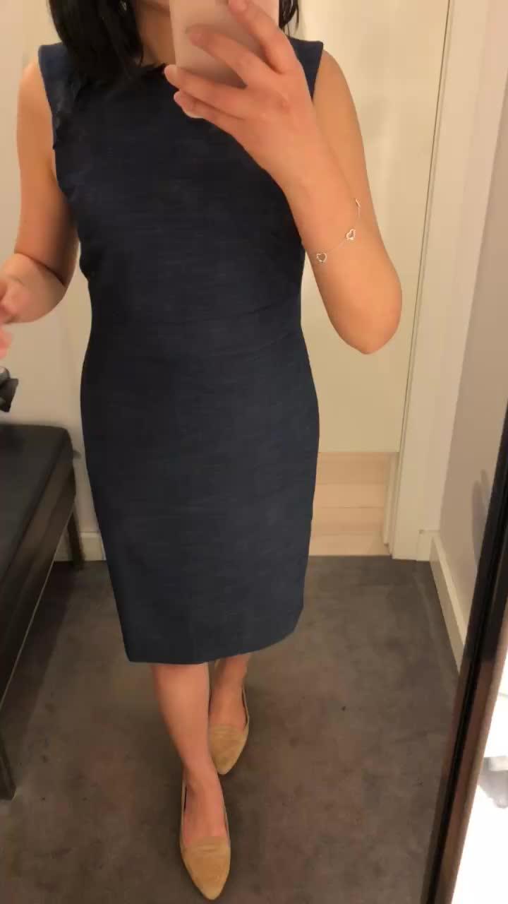 Ann Taylor Textured Ruffle Sheath Dress, size 0P
