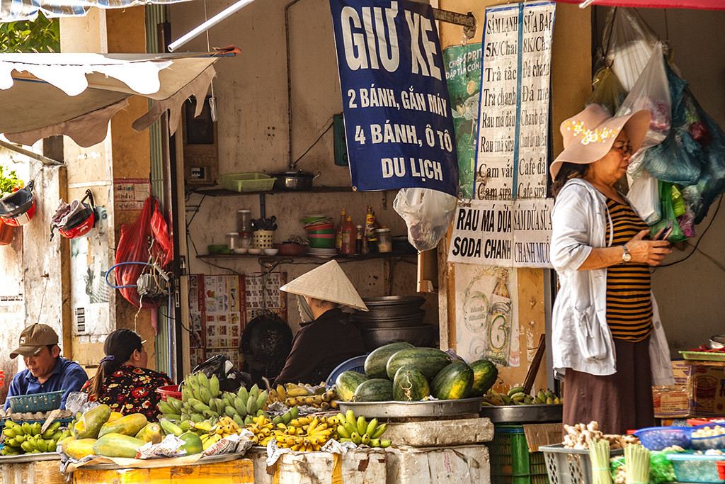 Alley fruit seller--Saigon