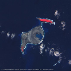 The New landmass formed from the Volcanic eruption in 2014, Hunga Tonga island in the South Pacific.