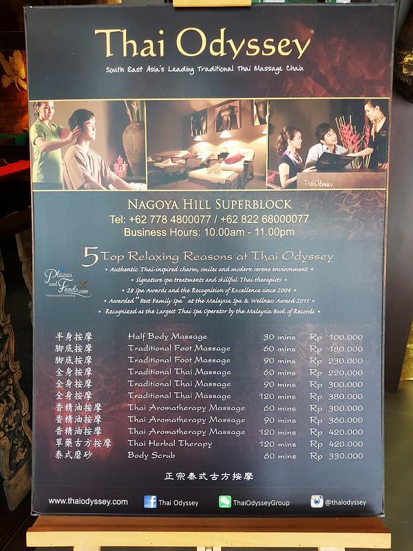 thai odyssey batam price list