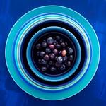 blueberries on blue