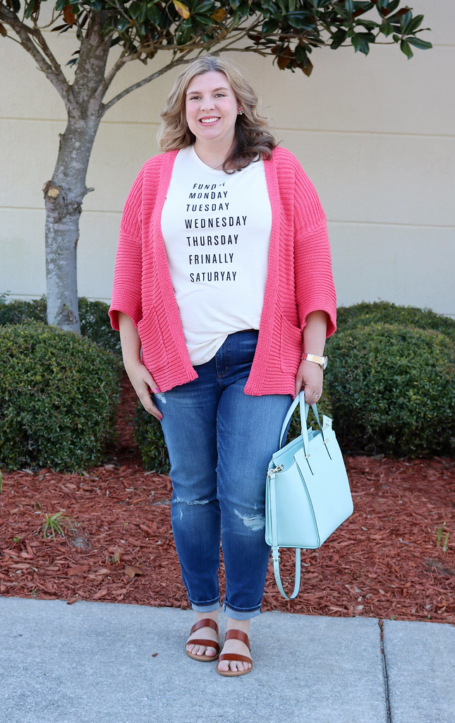 pink kimono cardigan, days of the week tee, distressed jeans 5