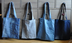 Denim shopping bag, tote bag