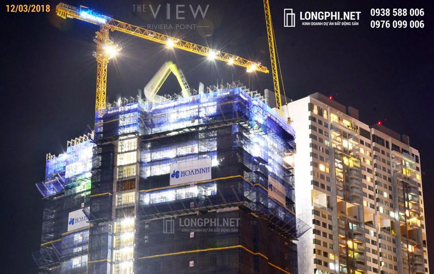 Cập nhật tiến độ thi công dự án căn hộ The View - Riviera Point ngày 12/03/2018. Ảnh: Hoàng Long (LongPhi.net).