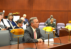 Rep. Fred Camillo (R-Greenwich) testifying before the Judiciary Committee in favor of his bill, which would increase the penalty for intentionally killing or injuring a police dog.