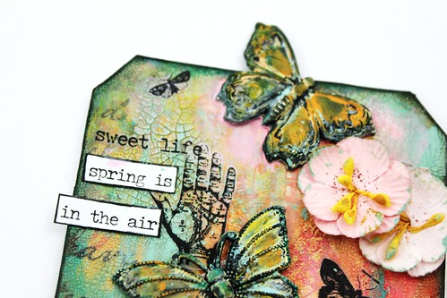 Meihsia Liu Simply Paper Crafts Mixed Media Tag Spring Simon Says Stamp Tim Holtz Prima Flowers 2