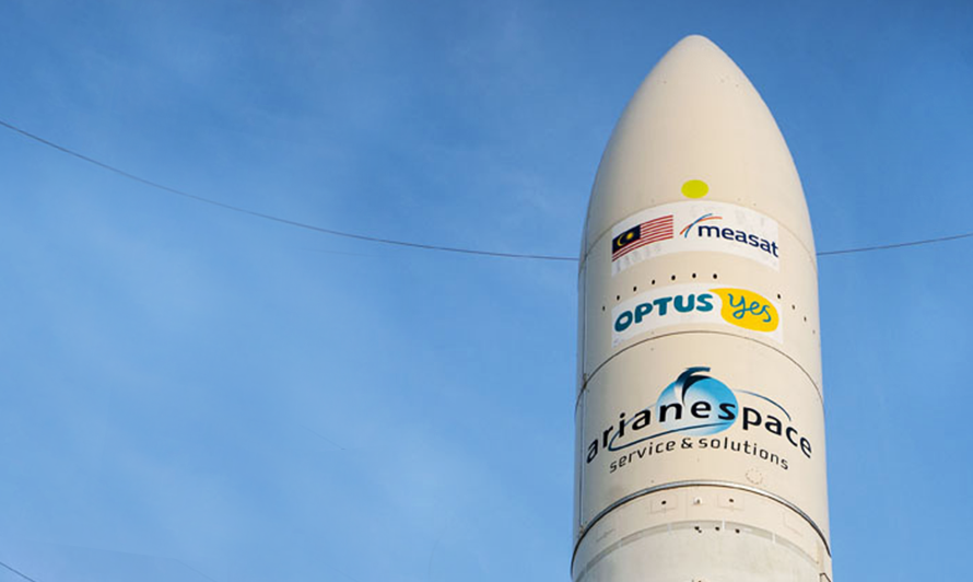 Cone of Ariane rocket containing MEASAT-1 prior to launch from French Guiana, January 1996.