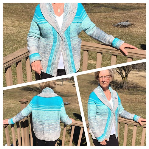 Natalie's finished Comfort Fade Cardi by Andrea Mowry using Koigu Kersti in the Blue Pack Kit