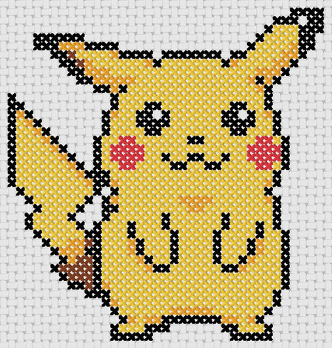 Preview of Anime cross stitch to print: Pokemon's Pikachu
