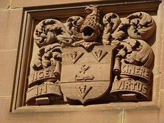 Sydney. Carved motto in the walls of the Gothic style sandstone Government House. Built 1837 to 1845.