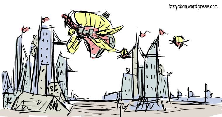 fantasy airships at port
