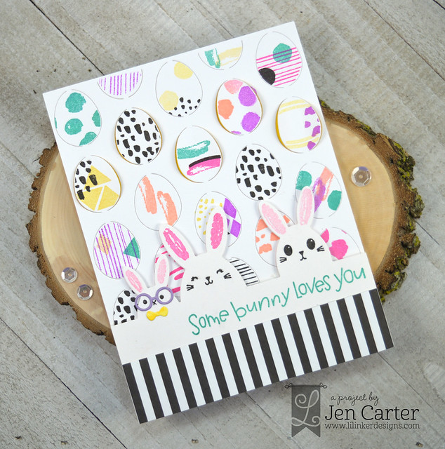 Jen Carter Easter Egg Pop Up Happy Bunny Border Stamps wm