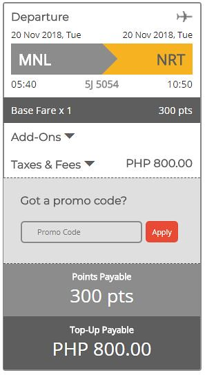 GetGo Triple Treat Manila to Tokyo November 20, 2018 Booking Summary
