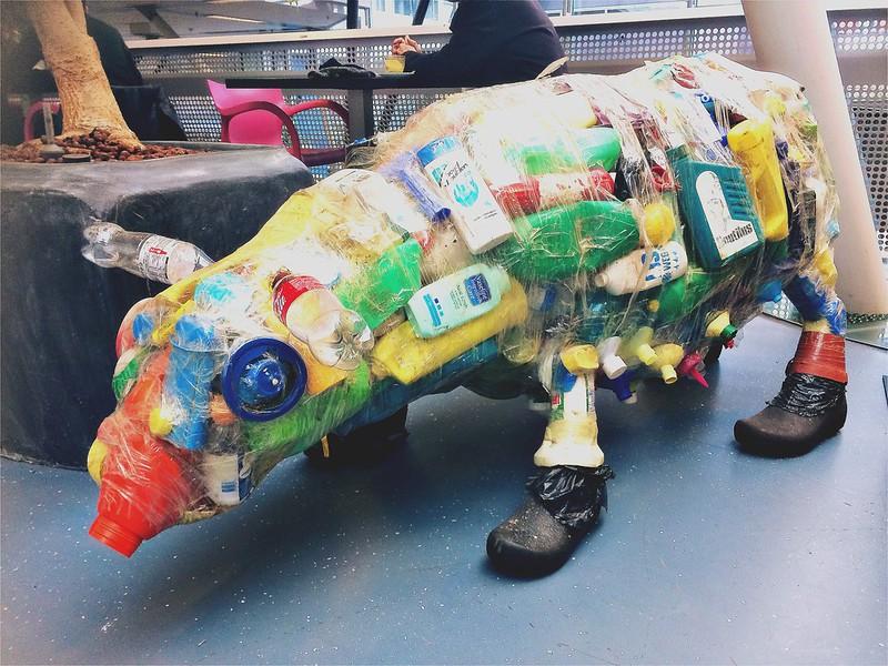 Kunstwerk Plastic Afval in de bibliotheek (deel 1)