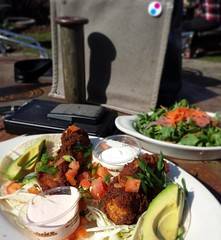 Fish Tacos  ... Food pictures are nearly impossible in blaring sunshine. Just sayin'. - - - 3.12.18 - - - #fishtacos #uselessbaycoffee #lunch #iatethis #foodphotography #foodporn #langley #whidbeyisland #pnw #whereilive #galaxys4