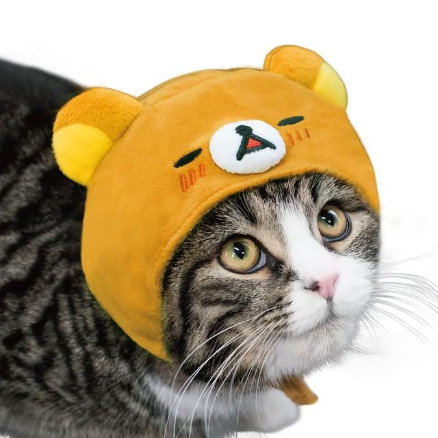 竟然戴上拉拉熊,這可不只兩倍療癒啊~♥ necos 貓咪頭套【拉拉熊】リラックマ