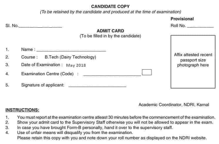 NDRI Admit Card - Candidate's Copy