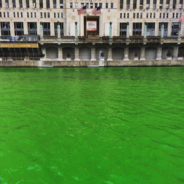 Two days later and the Chicago River is green all the way down by the Merchandise Mart!