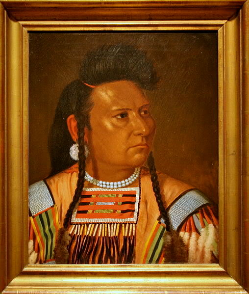 Painting of Chief Joseph made by Cyrenius Hall at Fort Leavenworth, Kansas, in 1878. The painting is at the National Portrait Gallery in Washington, D.C.