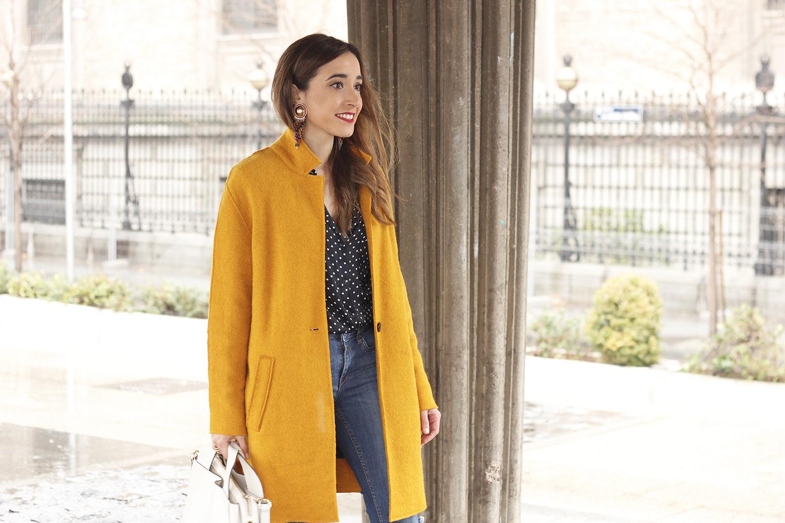 mustard coat polka dots shirt leopard heels white bag outfit 12