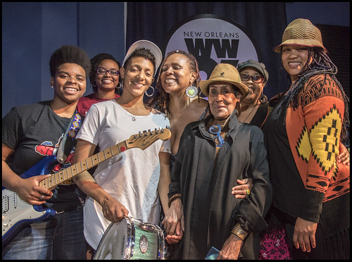 Dee Lindsey with Gaynielle Neville & Afro-disiac on Day 8 of Spring Membership Drive - 3.20.18. Photo by Marc PoKempner.