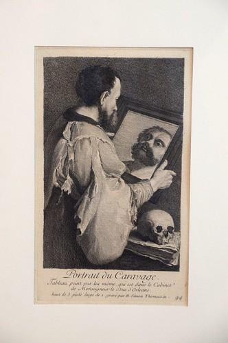 Caravaggios självporträtt är graverat av Henri-Simon Thomassin