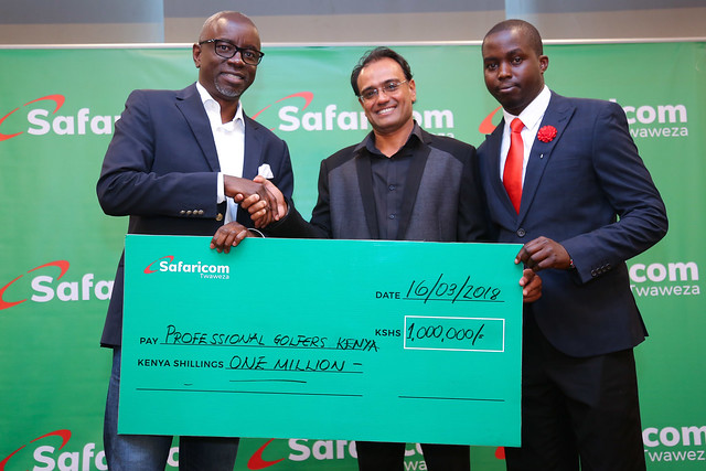 SAFARICOM, CHEQUE HANDOVER TOWARDS BARCLAYS KENYA OPEN AT MICHAEL JOSEPH CENTRE