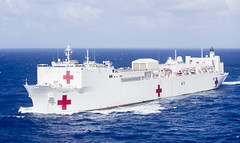 USNS Mercy (T-AH 19) transits the waters near Guam, March 16. (U.S Navy/MC2 Kelsey L. Adams)