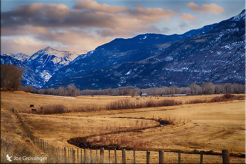 winding creek fence cows bucolic joegrossinger mountains
