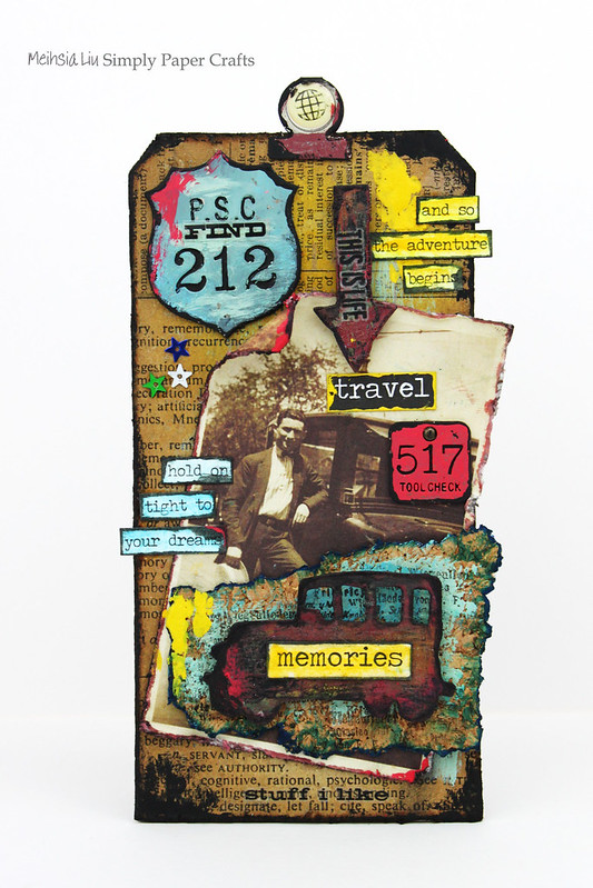 Meihsia Liu Simply Paper Crafts Mixed Media Tag Road Trip Travel Simon Says Stamp Tim Holtz 1