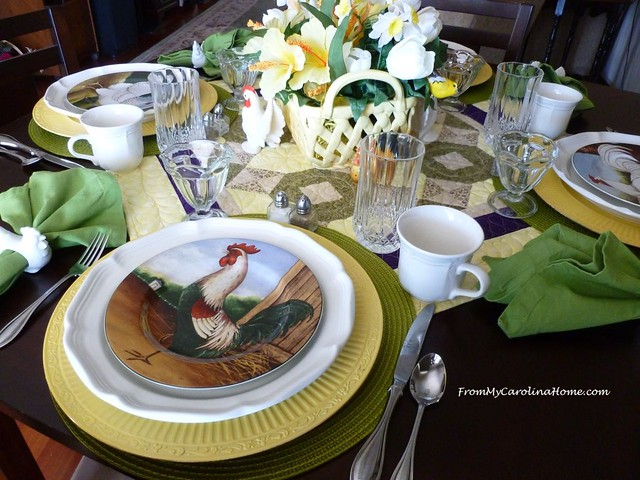 Spring Chickens Tablescape at From My Carolina Home