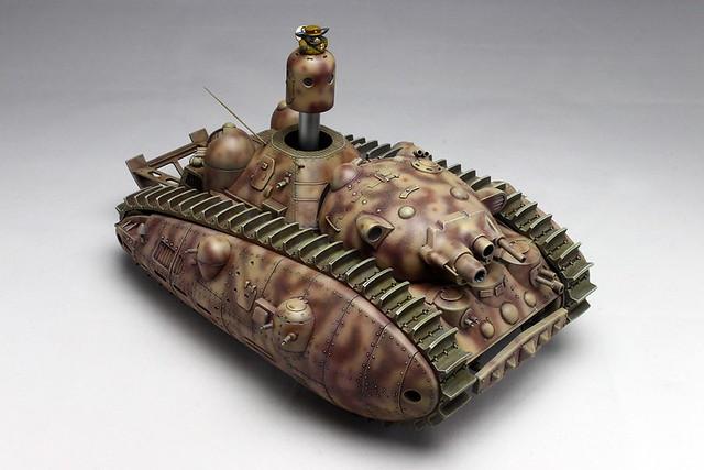 【官圖&販售資訊更新】《宮崎駿的雜想筆記》夢的多砲塔戰車「惡役一號」1/72比例 組裝模型作品!夢の多砲塔戦車 悪役1号 短砲身 プラモデル