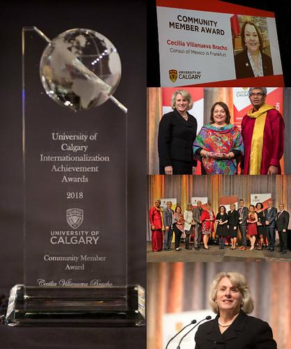 Cónsul Cecilia Villanueva recibe premio de la Universidad de Calgary en Canadá