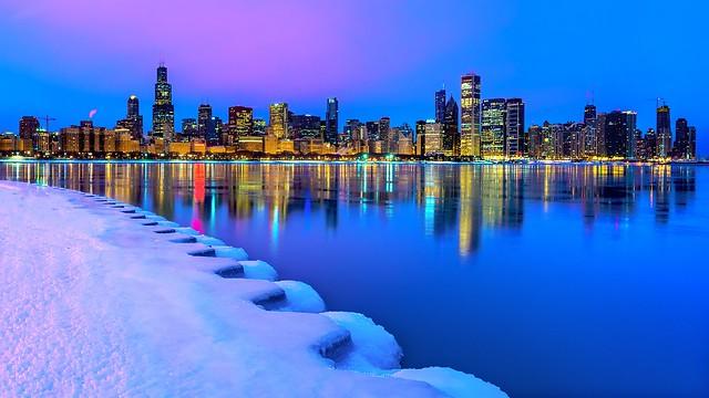 Chicago's Winter Skyline at Dawn