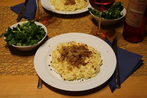 Rys und Pohr (= Schweizer Risotto) mit Feldsalat und Rosé