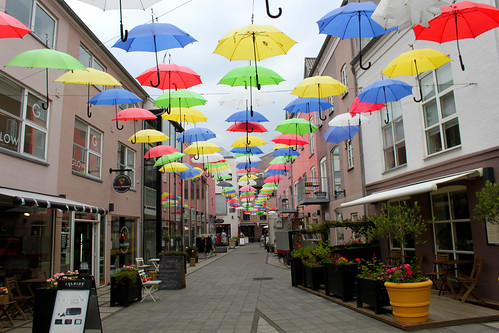 street with colorful umbrellas in Vejle