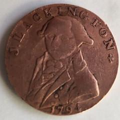 1794 Lackington Halfpenny Token obverse