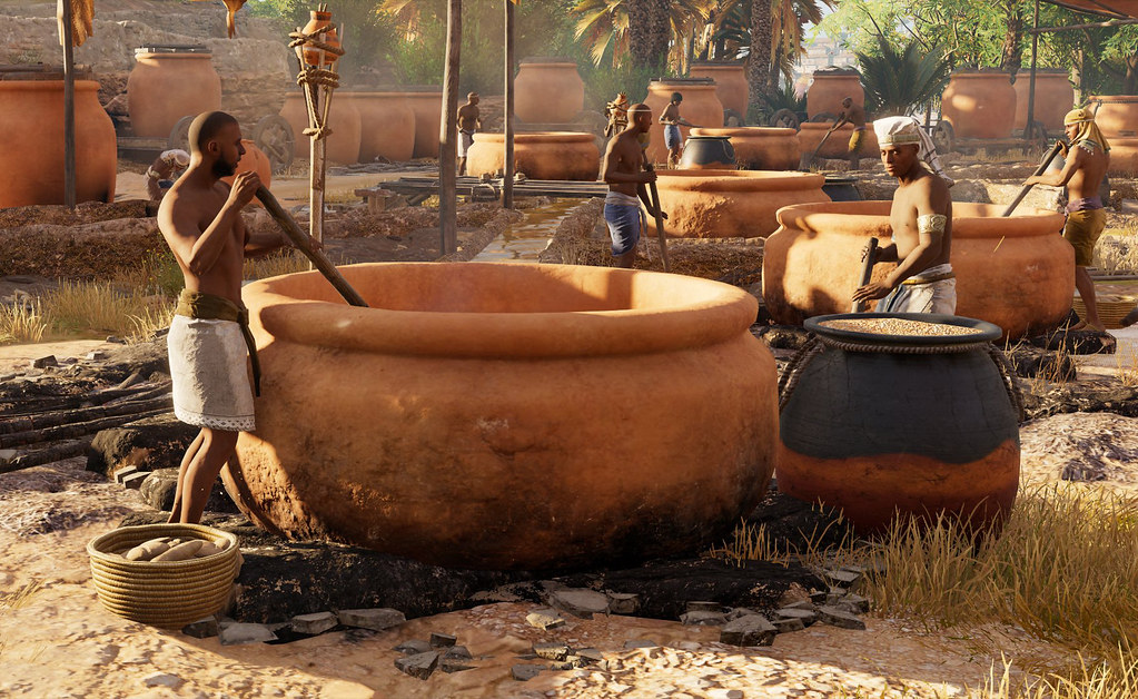 Brewing beer in ancient Egypt as shown in Ubisoft's Assassin's Creed Origins Discovery Tour