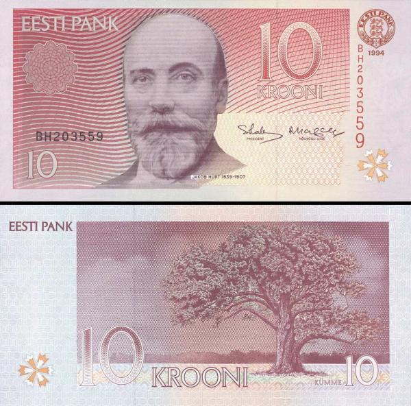 10 estónskych korún Estónsko 1994, P77