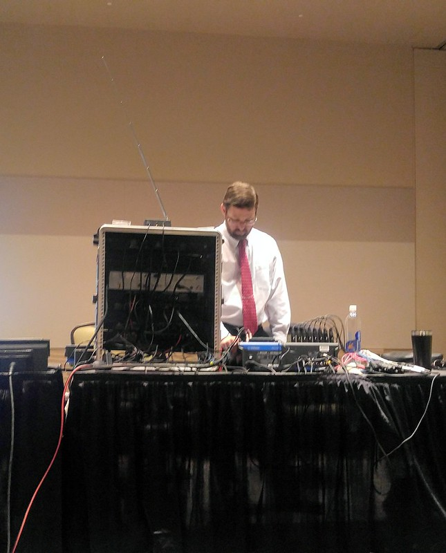 Ryan Hall running the sound system
