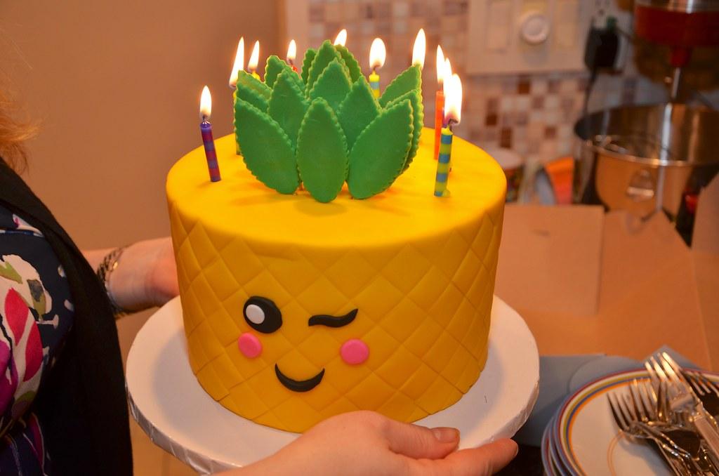 Pineapple Emoji Birthday Cake
