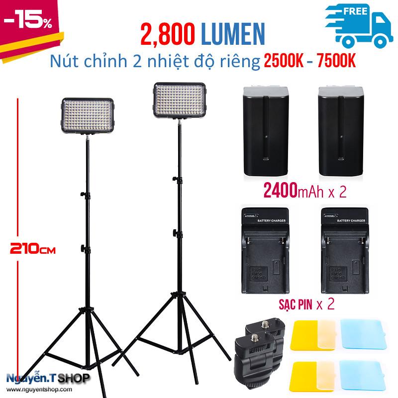 02 đèn Led Ishoot XT-160II - 02 chân đèn 2m - 02 Pin sạc  2400mAh và 02 sạc Pin