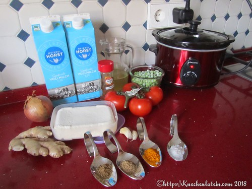 Curry mit Erbsen und Käse - Paneer mattar Zutaten