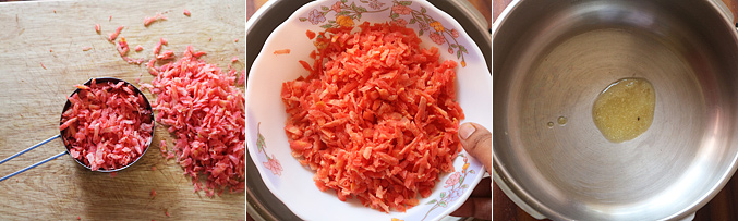 How to make pressure cooker gajar halwa recipe - Step2