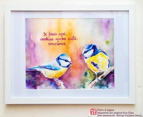 Dos ocells; aquarel·la de l'Eva Elias, texts de Ferran Cerdans Serra manuscrits per l'autor.