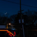 new moon, blue hour, over Metro 29 Diner