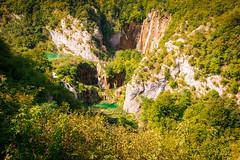 The big Waterfalls in Plitvice in the morning sun