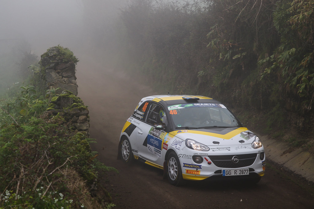 46 KRISTENSSON  Tom (swe), APPELSKOG Henrik (swe) Adac opel Rallye junior team, Opel adam R2, action during the 2018 European Rally Championship ERC Azores rally,  from March 22 to 24, at Ponta Delgada Portugal - Photo Jorge Cunha / DPPI
