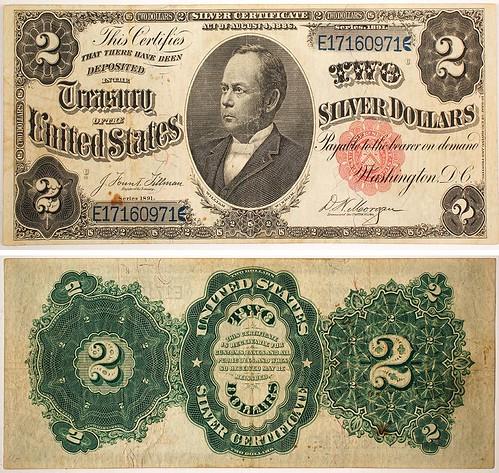 William Windom $2 Silver Certificate