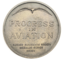 Chicago Coin Club 1910 aviation medal reverse